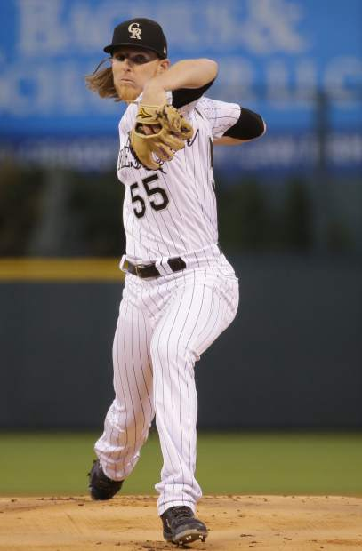 Colorado Rockies starting pitcher Jon Gray throws against the Philadelphia Phillies during the first inning of a baseball game on Monday, Sept. 24, 2018, in Denver. (AP PhotoJack Dempsey)