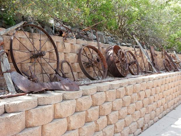 The gardens and yard of Jerry and Judy Gerbaz have a great assortment of mining, ranching and railroad artifacts.