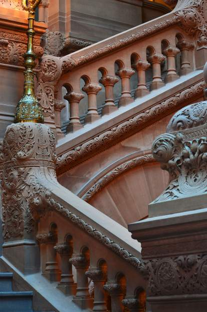 An intricately carved staircase in Albany, NY.