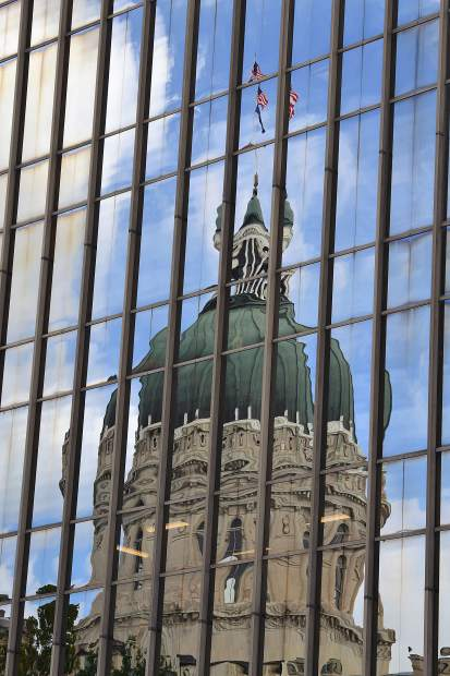 Reflection of the Dome in a nearby building in Indianapolis, IN.