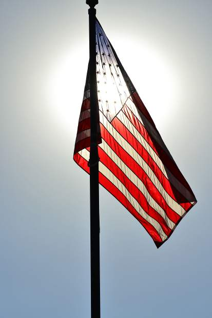 Flag with the sun behind in Phoenix.