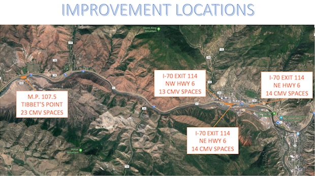 The Department of Transportation presented plans for four commercial motorized vehicle (CMV) parking sites, two close to retail and residences in West Glenwood.