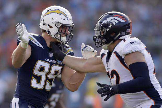 Los Angeles Chargers defensive end Joey Bosa, left, lines up against Denver Broncos offensive tackle Garett Bolles during the first half of an NFL football game Sunday, Nov. 18, 2018, in Carson, Calif. (AP Photo/Marcio Jose Sanchez)