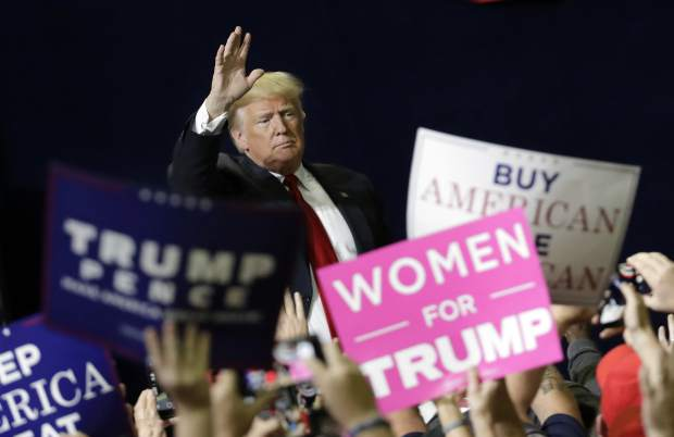 President Donald Trump acknowledges the crowd as he leaves a rally Sunday, Nov. 4, 2018, in Chattanooga, Tenn. (AP Photo/Mark Humphrey)