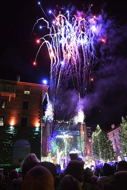 The fireworks display lights up the night sky above the Hotel Colorado during last year's Festival of Light in Glenwood Springs.