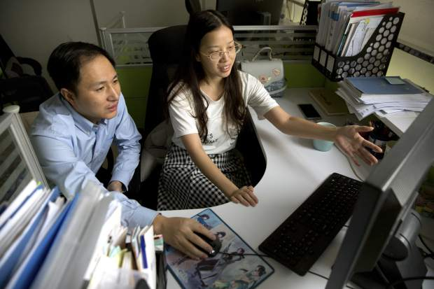In this Oct. 10, 2018 photo, He Jiankui, left, and Zhou Xiaoqin work a computer at a laboratory in Shenzhen in southern China's Guangdong province. Chinese scientist He claims he helped make world's first genetically edited babies: twin girls whose DNA he said he altered. He revealed it Monday, Nov. 26, in Hong Kong to one of the organizers of an international conference on gene editing. (AP Photo/Mark Schiefelbein)