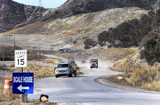 A steady stream of traffic flows in and out of the South Canyon Landfill Friday west of Glenwood Springs.