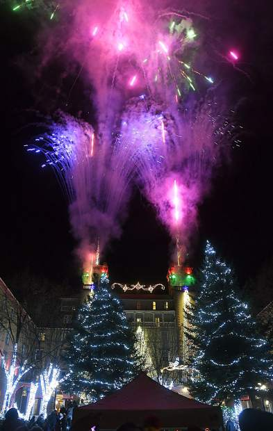 Christmas lights and fireworks light up the Hotel Colorado for the 29th annual Festival of Lights Friday night in Glenwood Springs. Crowds of all ages filled Sixth Street to catch a glimpse of the historic hotel marking the beginning of the Christmas season with the annual event.
