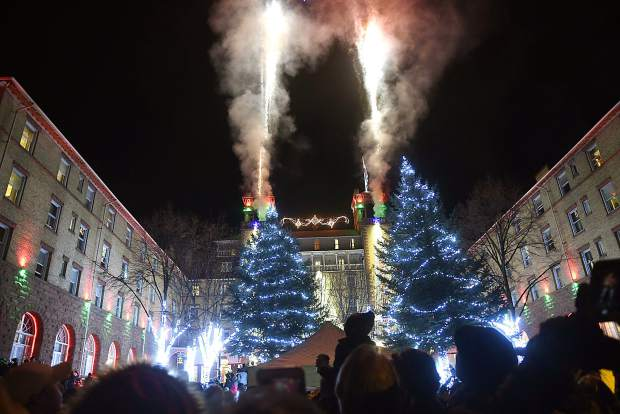 Christmas lights and fireworks light up the Hotel Colorado for the 29th annual Festival of Lights Friday night in Glenwood Springs. Crowds of all ages filled Sixth Street to catch a glimpse of the historic hotel marking the begining of the Christmas season with the annual event.