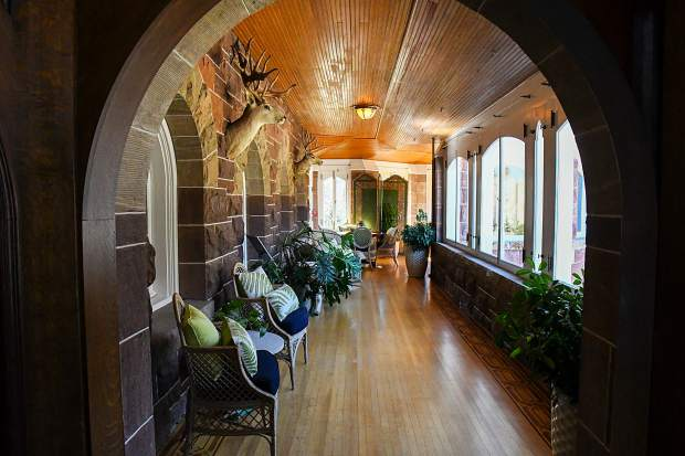 The sitting and sunroom inside the recently restored Redstone Castle.