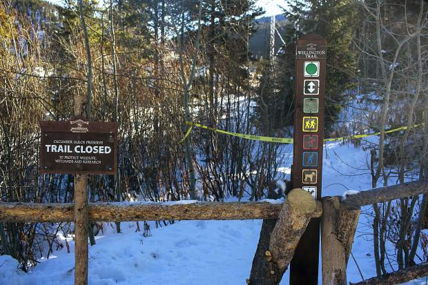 Trail closed sign posted at Wellington trail by Town of Breckenridge without announcement seen on Thursday, Nov. 15, in Breckenridge.