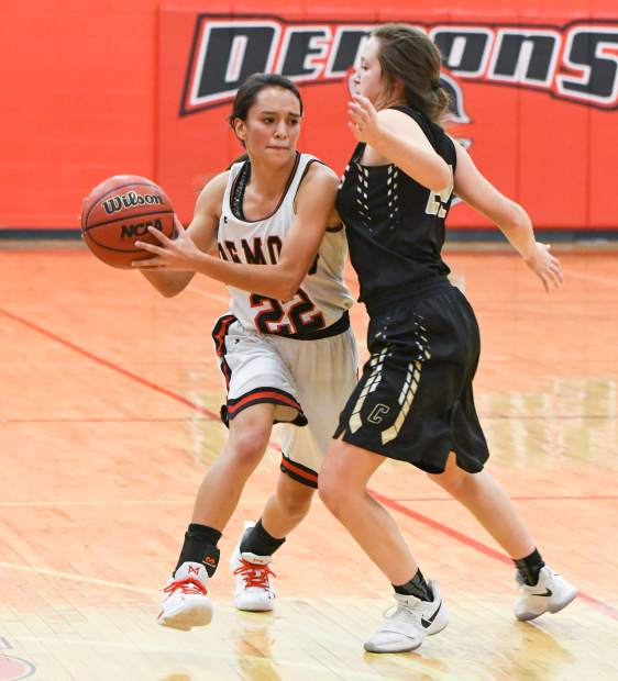 Glenwood Springs Demon Afton Larson looks for an open teammate during Friday night's game against the Canon City Tigers at Glenwood Springs High School.