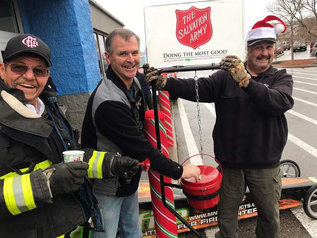 Colorado River Fire Rescue's Orrin Moon, Chief Sam Stewart and Mike Kelly were out in front of Wal-mart all Saturday to try to get donations for the local Salvation Army.