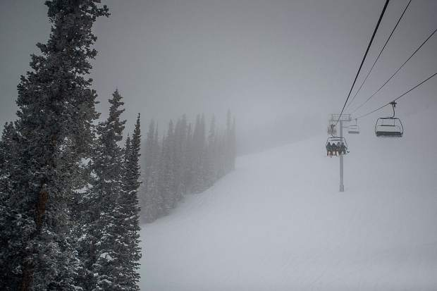 Visibility on Loge lift at Aspen Highlands for opening day on Saturday.