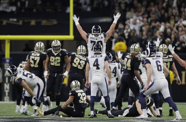 Los Angeles Rams kicker Greg Zuerlein reacts after his game-winning field goal in overtime of the NFL football NFC championship game against the New Orleans Saints, Sunday, Jan. 20, 2019, in New Orleans. The Rams won 26-23. (AP Photo/Carolyn Kaster)
