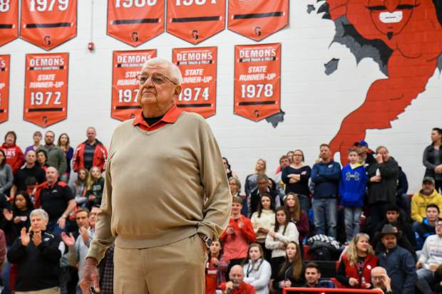 Former Glenwood Springs HIgh School boys basketball coach Bob Chavez is recognized along with members of the 1978-79 team as this year marks forty years after the undefeated team won state.