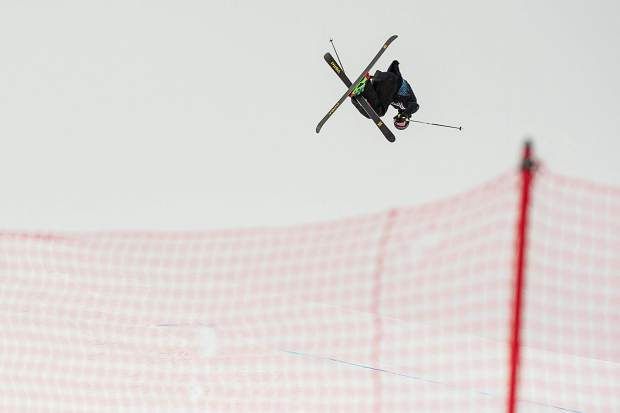Alex Beaulieu-Marchand hits the second jump during his first run of the men's ski slopestyle final on Saturday at Buttermilk. ABM took silver with a 92.66.