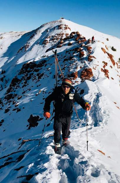 Arin Trook hikes at Highlands Ridge earlier this month. Trook, 48, died Monday in an avalanche near Ashcroft.