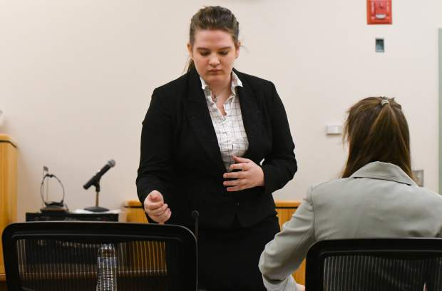 Glenwood Springs High School student Nicole Powell competes in the Mock Trial regional competition at the Garfield County Courthouse on Saturday morning. Powell's team took first place.