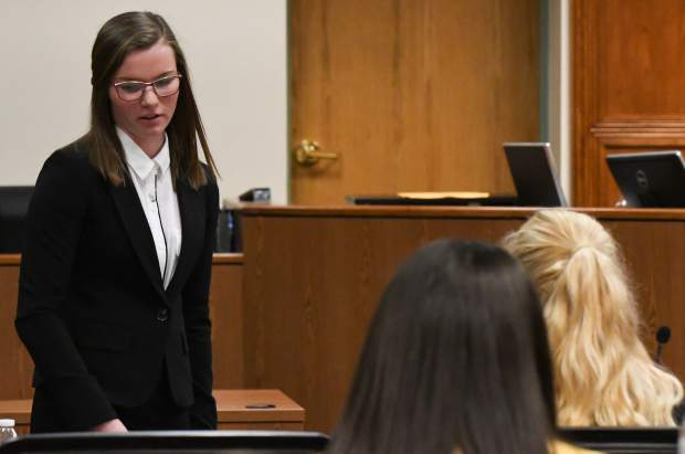 Hannah Bodrogi of Rifle High School competes in the Mock Trial regional competition at the Garfield County Courthouse on Saturday morning. Bodrogi's team recieved third place.