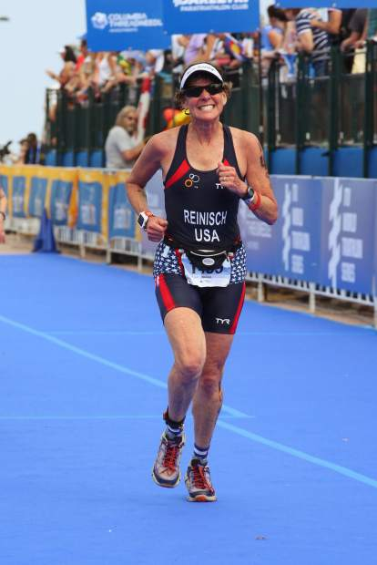 Nancy Reinisch competing in one of her many triathlons over the years.