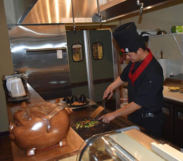Chef/co-owner Joey Lin at the grill on  Monday evening at 450 Teppanyaki in Carbondale.