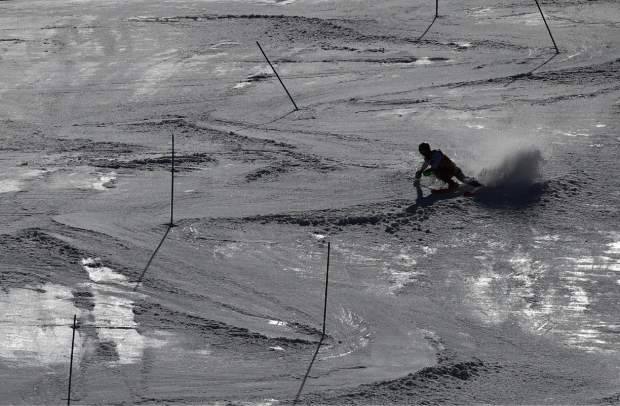 Austria's Marcel Hirscher competes in a men's alpine ski World Cup slalom, in Soldeu, Andorra, Sunday, March 17, 2019. (AP Photo/Alessandro Trovati)