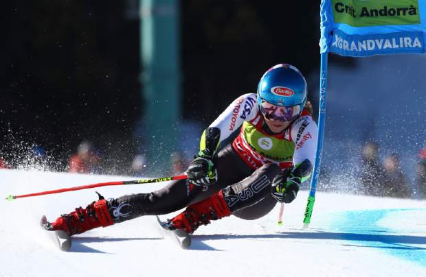 United States' Mikaela Shiffrin competes during the first run of a women's alpine ski giant slalom, in Soldeu, Andorra, Sunday, March 17, 2019. (AP Photo/Alessandro Trovati)