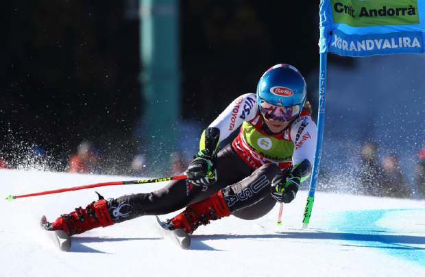 United States' Mikaela Shiffrin competes during the first run of a women's World Cup giant slalom, at the alpines ski finals in Soldeu, Andorra, Sunday, March 17, 2019. (AP Photo/Alessandro Trovati)