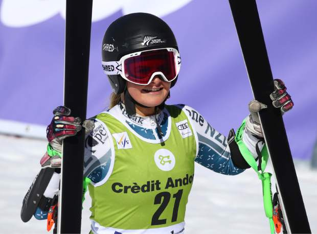 New Zealand's Alice Robinson celebrates taking second place in a women's alpine ski giant slalom title, in Soldeu, Andorra, Sunday, March 17, 2019. (AP Photo/Alessandro Trovati)