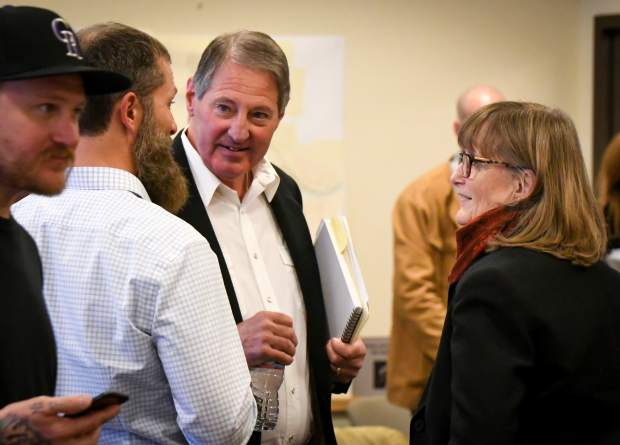 Glenwood Springs City Council candidate Jim Ingraham speaks with supporters and other members of the audience after the Issues and Answers Forum held at City Hall Monday evening.