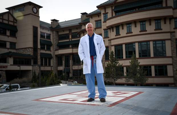 Emergency Dr. Ben Peery stands on the helipad connected to Valley View Hospital. The helipad is utilized by Classic Air Medical and other air medical helicopters, which also use the Glenwood Springs Airport for refueling and maintenance..