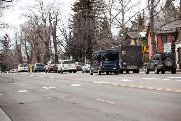 Traffic backs up while trying to leave Aspen on Wednesday. A study said Aspen and Snowmass Village import about 7,500 workers per day.