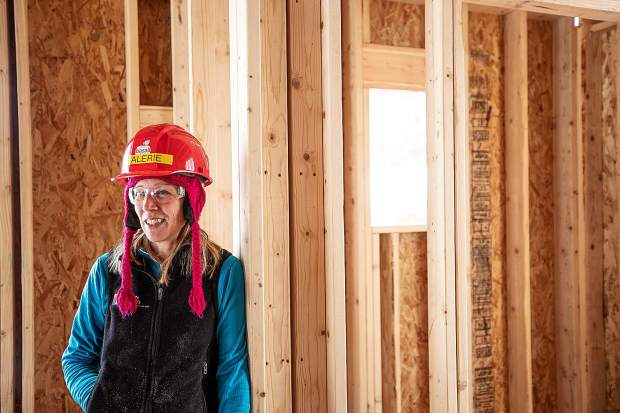 Valerie Forbes in the construction zone on the Basalt Vista Affordable Housing project with Habitat for Humanity on Feb. 28. The Basalt Vista project will provide Roaring Fork Valley teachers and local workers with the opportunity to own a home and raise a family in their community.