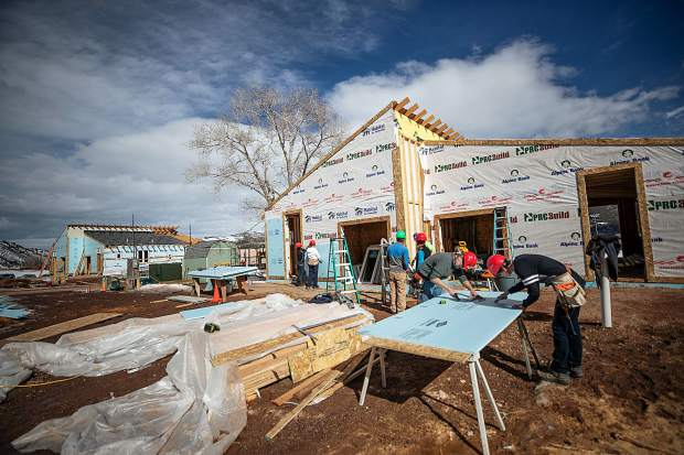 Construction on the Basalt Vista Affordable Housing project with Habitat for Humanity on Feb. 28. The Basalt Vista project will provide Roaring Fork Valley teachers and local workers with the opportunity to own a home and raise a family in their community.