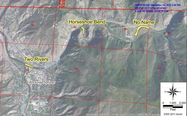 A map from the city of Glenwood Springs showing the location of three potential whitewater parks on the Colorado River. The city has signed an agreement with Colorado Parks and Wildlife that puts the middle location, at Horseshoe Bend, last on the priority list of the three potential sites.