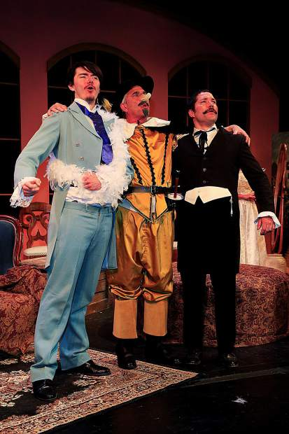 """Joshua Adamson (as Gustave-Hippolite Worms), Gary Ketzenbarger (as Benoit Constant Coquelin) and James Steindler (as Flavio Andò), left to right, appear in the farce """"The Ladies of the Camellias,"""" which opens at Colorado Mountain College Spring Valley April 5. The play from Sopris Theatre Company at CMC runs through April 13. Tickets are available at eventbrite.com or by emailing svticketsales@coloradomtn.edu. Photo Scot Gerdes"""