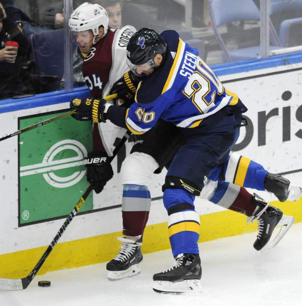 Colorado Avalanche's Carl Soderberg (34), of Sweden, is checked by St. Louis Blues' Alexander Steen (20) during the second period of an NHL hockey game, Monday, April 1, 2019, in St. Louis. (AP Photo/Bill Boyce)