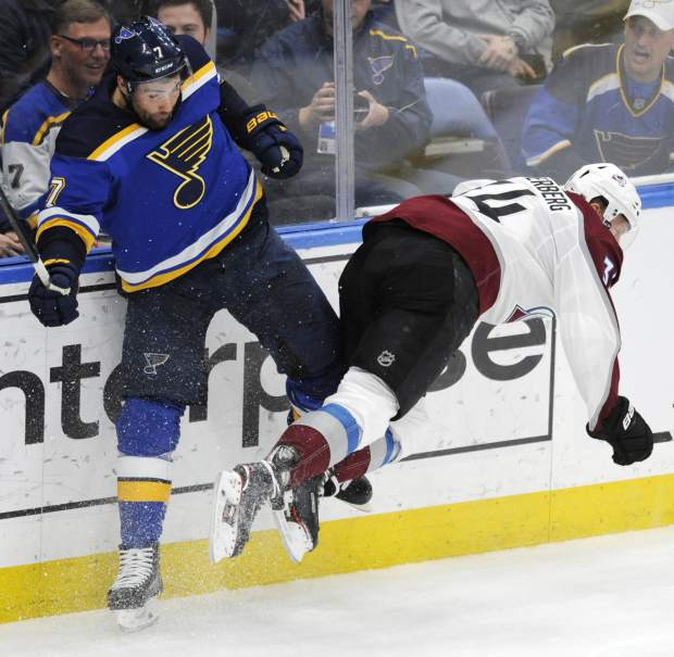 Colorado Avalanche's Carl Soderberg (34), of Sweden, is checked by St. Louis Blues' Pat Maroon (7) during the third period of an NHL hockey game, Monday, April 1, 2019, in St. Louis. (AP Photo/Bill Boyce)