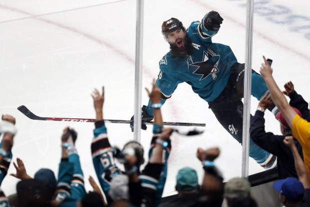 San Jose Sharks' Brent Burns (88) celebrates his goal against the Colorado Avalanche in the third period of Game 2 of an NHL hockey second-round playoff series, Sunday, April 28, 2019, at the SAP Center in San Jose, Calif. (AP Photo/Josie Lepe)