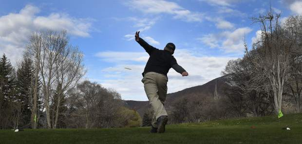 A contestant tees off at the first hole at Glenwood Springs Golf Club as the 2019 Colorado Open gets underway last weekend.
