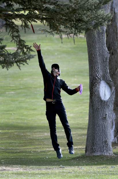 A competitor tries to rescue one of his discs from a large tree during action on the course Saturday in Glenwood Springs.
