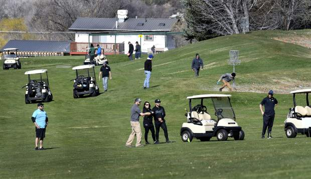 Competitors line the fairways of Glenwood Springs Golf Club during last weekend's Colorado Open Disc Golf Tournament. The two-day tournament hosted more than 100 disc golfers from Colorado and the surrounding states.