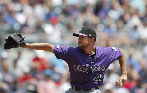 Colorado Rockies starting pitcher Tyler Anderson (44) works in the first inning of a baseball game against the Atlanta Braves Sunday, April 28, 2019, in Atlanta. (AP Photo/John Bazemore)