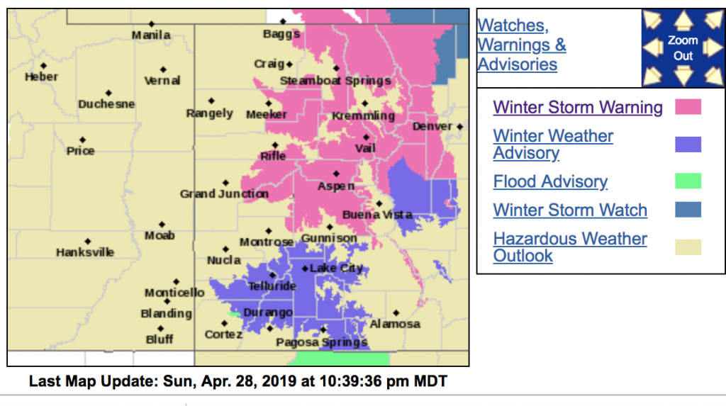 Winter storm warning issued for areas around Aspen and Snowmass above 8,500 feet