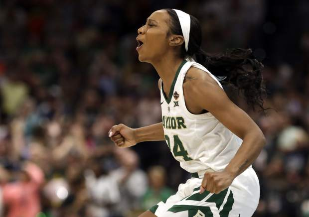 Baylor guard Chloe Jackson cheers during the second half against Notre Dame the Final Four championship game of the NCAA women's college basketball tournament Sunday, April 7, 2019, in Tampa, Fla. Baylor defeated Notre Dame 82-81. (AP Photo/Chris O'Meara)