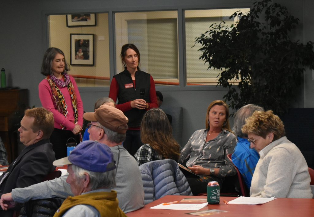 Aspen Valley Land Trust Executive Director Suzanne Stephens listens to suggestions about the future of conservation from members of the public in Carbondale Thursday.