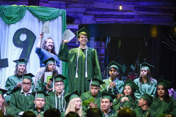 Awards are handed out during Bridges High School graduation Friday in Carbondale.