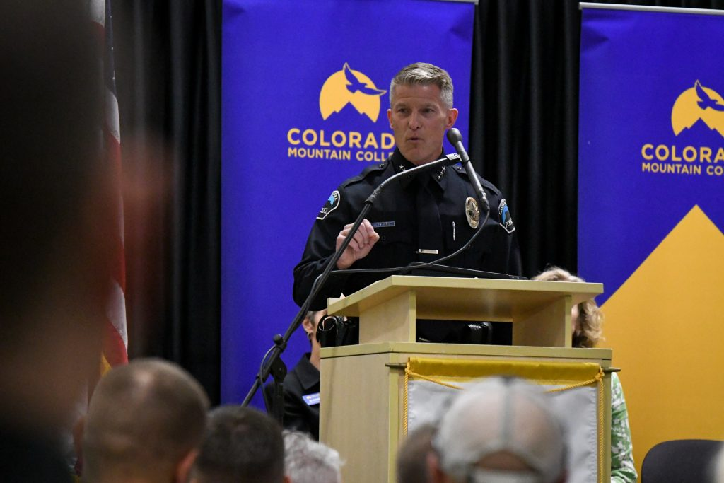 Castle Rock Police Chief gives the commencement address during the Colorado Mountain College CLETA graduation on Thursday afternoon at the Spring Valley Campus.