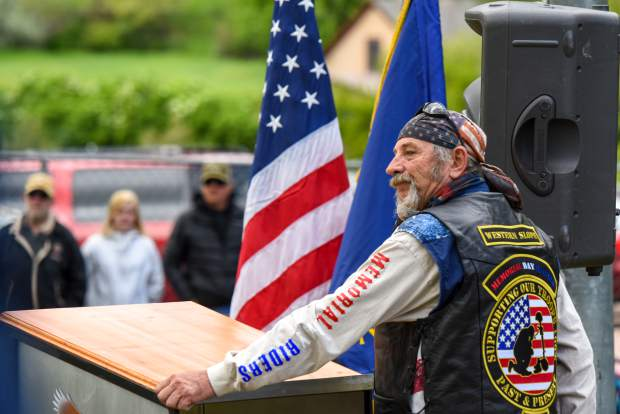 A member of the Western Slope Memorial Riders addresses the audience during the 2019 Memorial Day ceremony held at Rosebud Cemetery in Glenwood on Monday.
